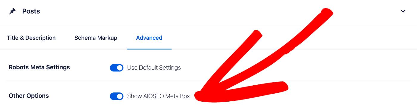 Show AIOSEO Meta Box setting on the Advanced tab