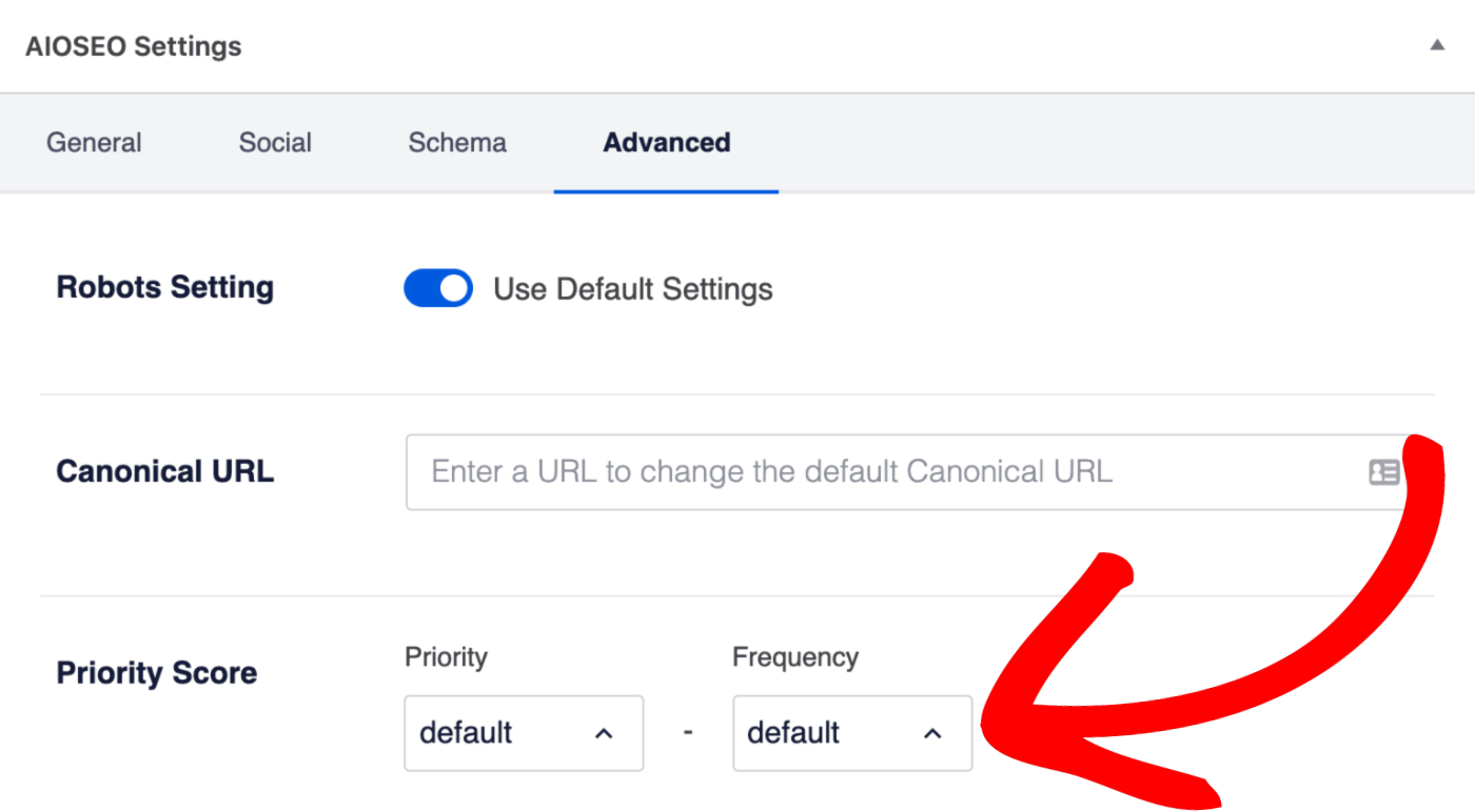 Sitemap Priority and Frequency drop downs on the Edit Post screen
