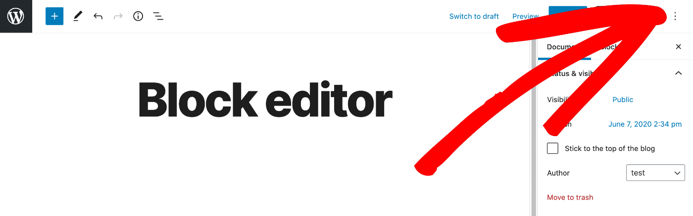 More Tools and Options icon in WordPress Block Editor
