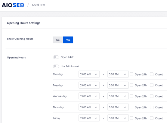WordPress opening hours schema