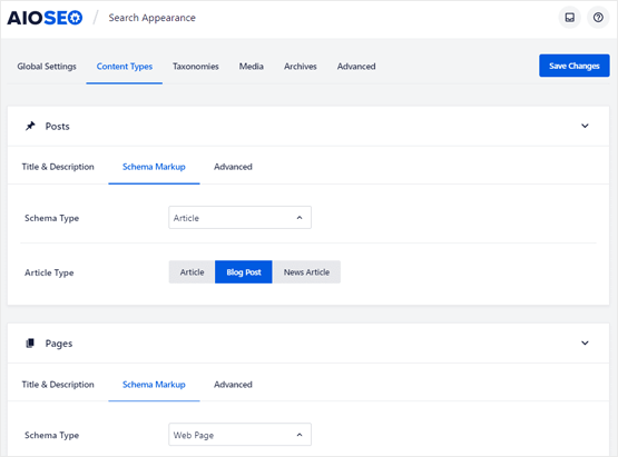wordpress schema markup settings