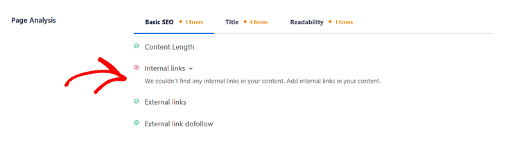 Blog post SEO checklist - page analysis in AIOSEO