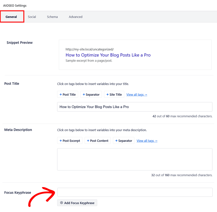 Blog post SEO checklist - setting the focus keyphrase in the AIOSEO Settings