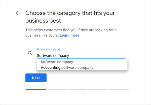 choose the local business category