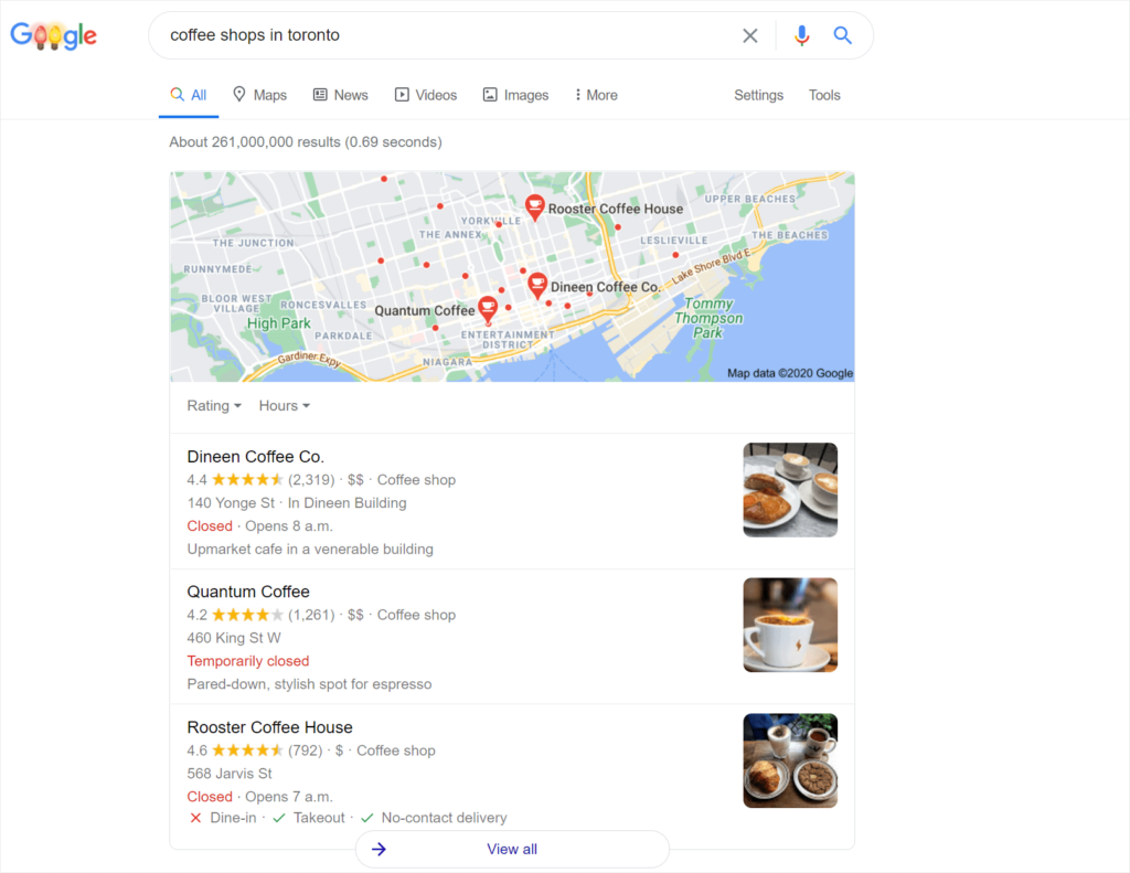 example of local SERP with local pack