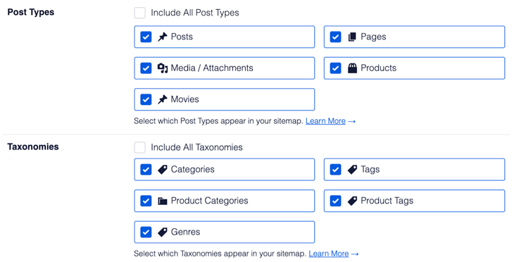 XML sitemap settings in AIOSEO - a list of all your content post types and taxonomies