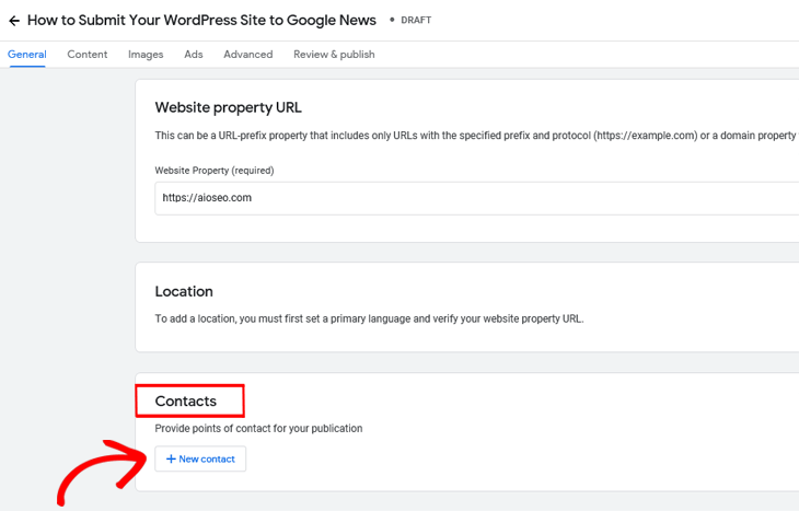 Google Publisher Center add contacts