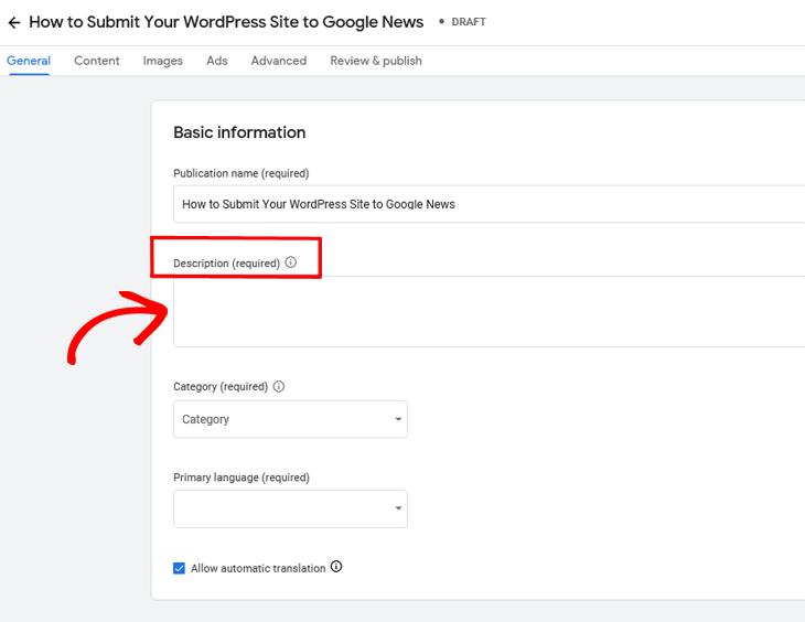 Google Publisher Center add description of your site
