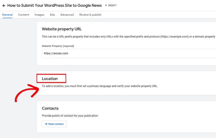 Google Publisher Center add location