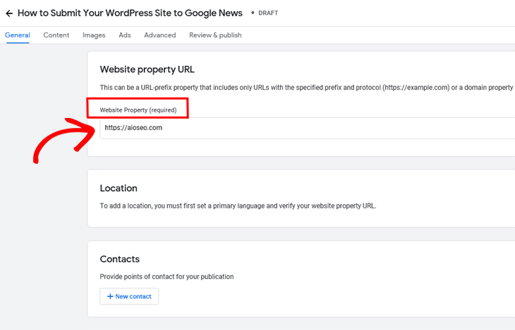 Google Publisher Center add website property URL