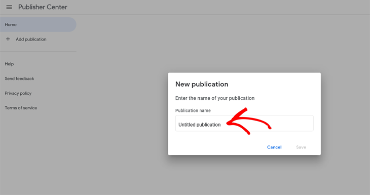 Google Publisher Center add a new publication