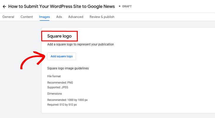 Google Publisher Center add square logo