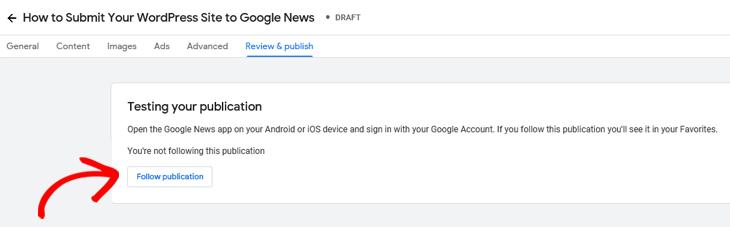 Google Publisher Center testing your publication