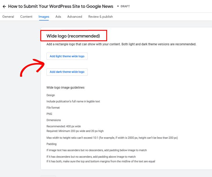 Google Publisher Center add wide logo