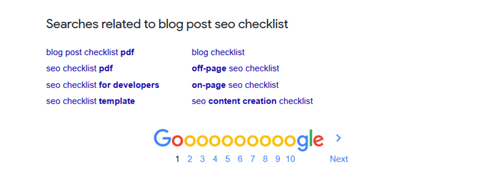 Blog post SEO checklist - related searches on Google