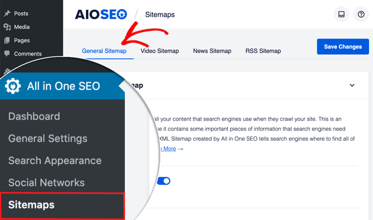 Sitemaps menu item in All in One SEO