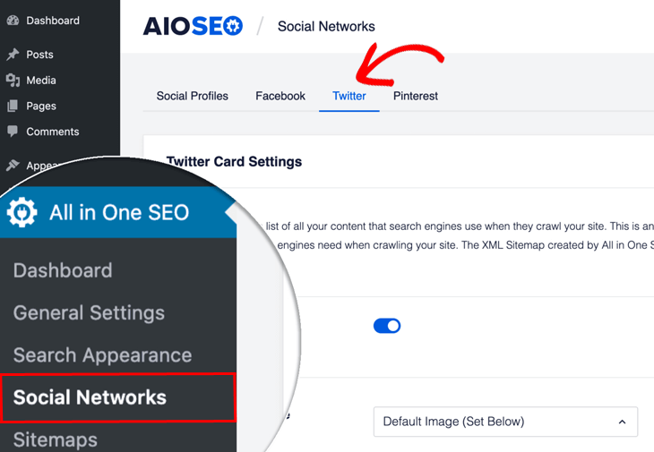 Add Twitter Cards in WordPress using AIOSEO - enable Twitter Cards