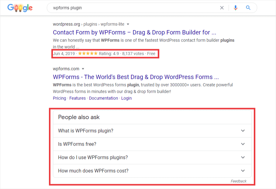WordPress rich snippets example