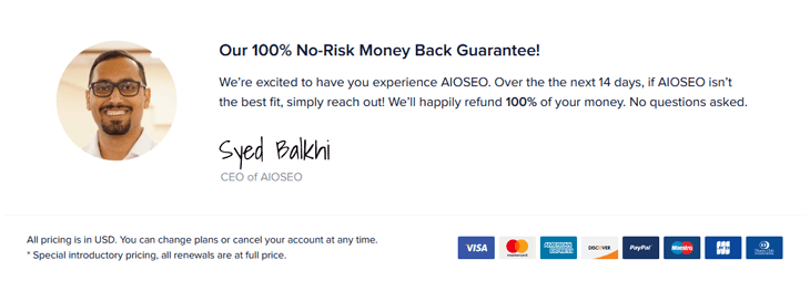 100% No-Risk Money Back Guarantee for All in One SEO