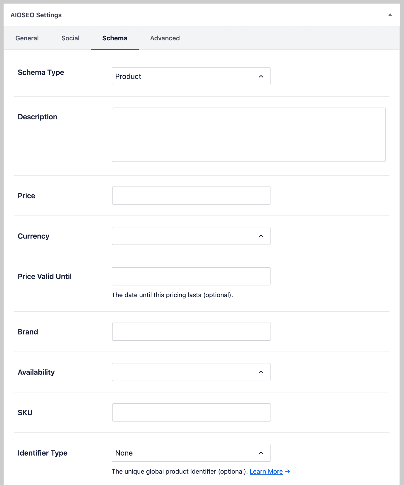 Product fields on the Schema tab of All in One SEO