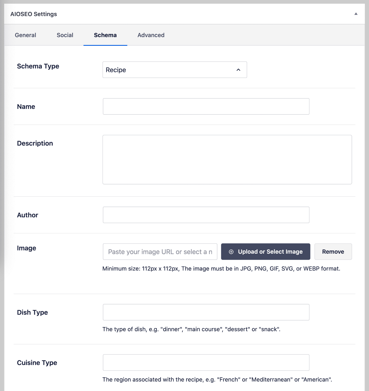 Recipe fields in the Schema settings for All in One SEO