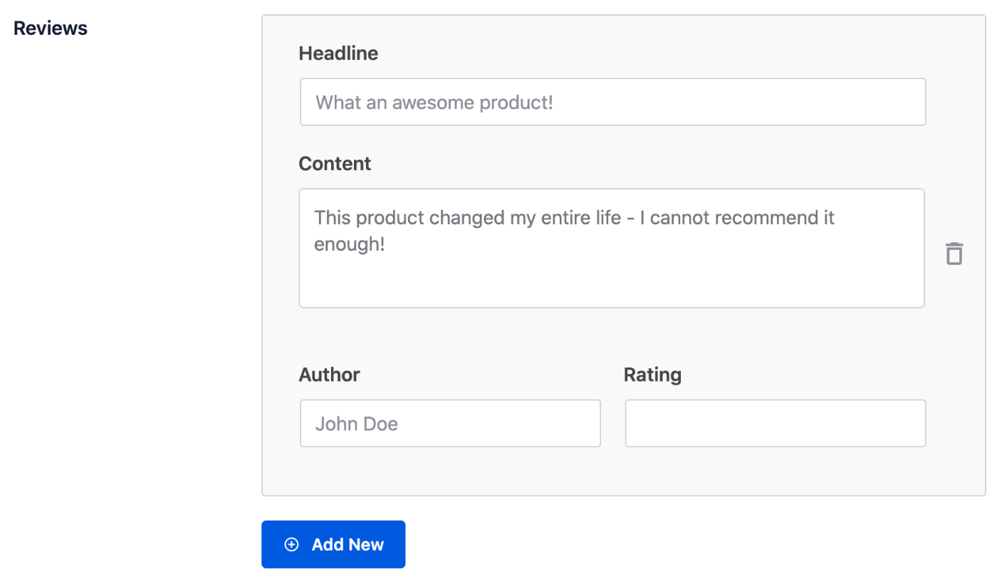 Reviews form in the Schema settings for All in One SEO