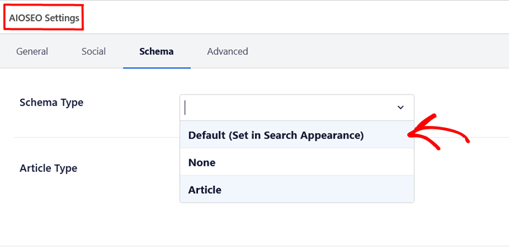 Setting schema markup for individual posts and pages in All in One SEO