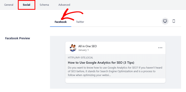 Set Facebook thumbnail in All in One SEO (AIOSEO)