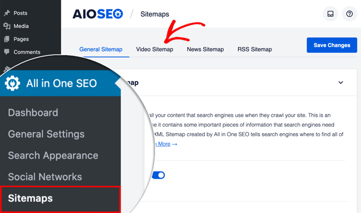 Video sitemap menu in All in One SEO