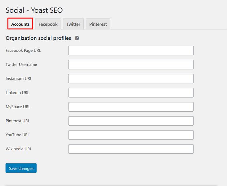 Social accounts in Yoast SEO