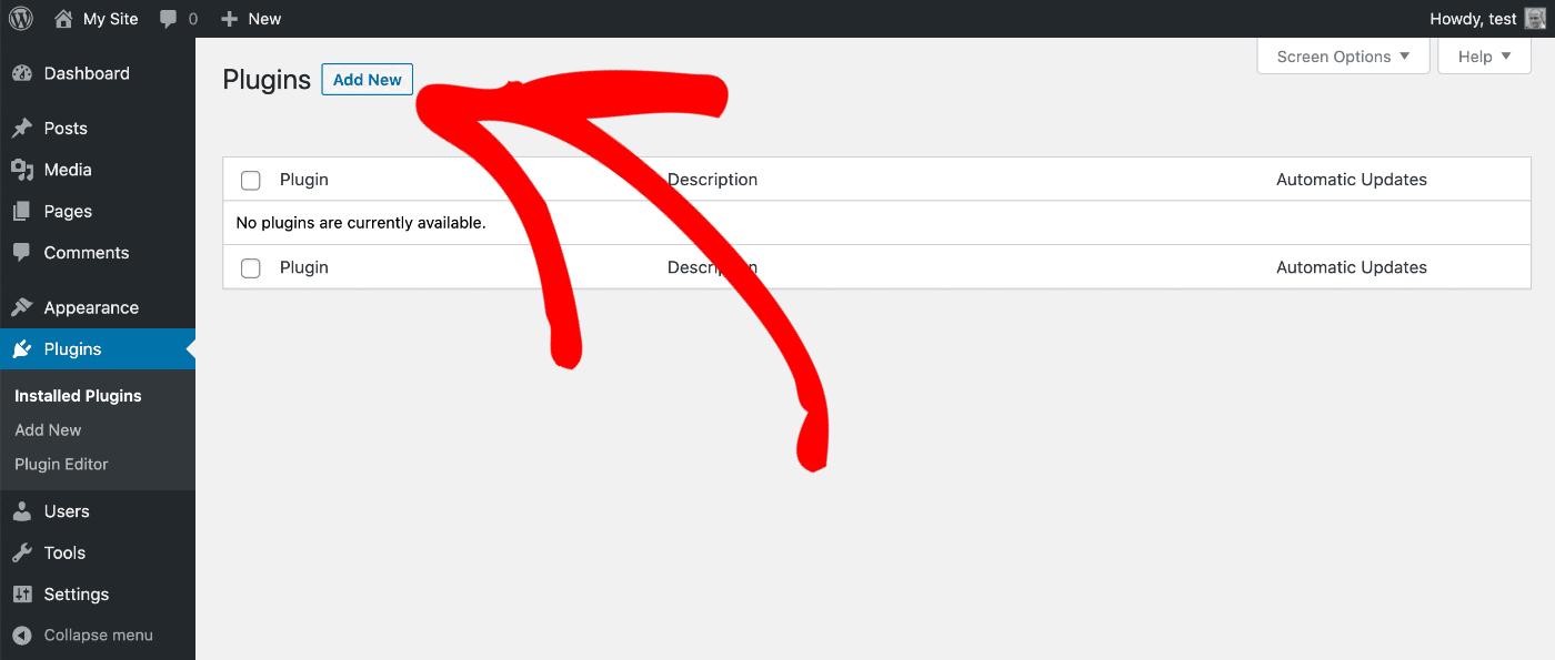 Add New button on the Plugins screen in WordPress