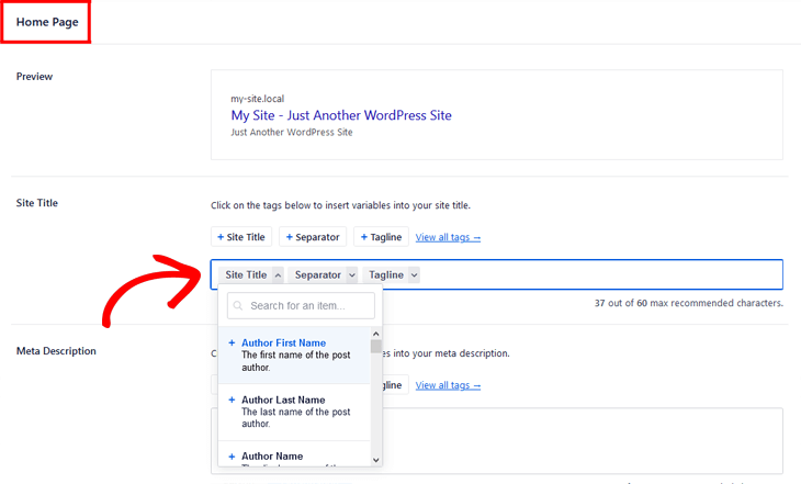 Changing SEO title on your homepage in All in One SEO