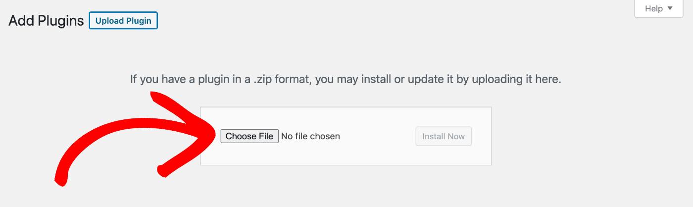 Choose File button in WordPress