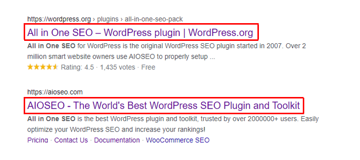 Examples of SEO titles for All in One SEO