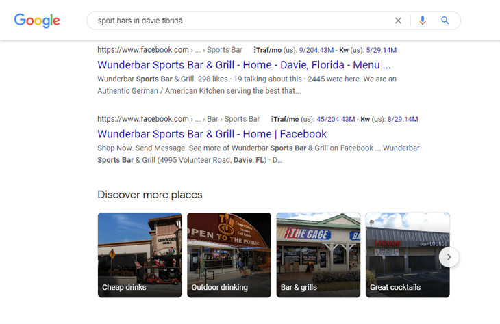 A complete local SEO checklist: example of Facebook listing on Google