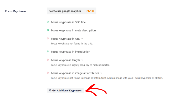 Get additional keyphrases in All in One SEO