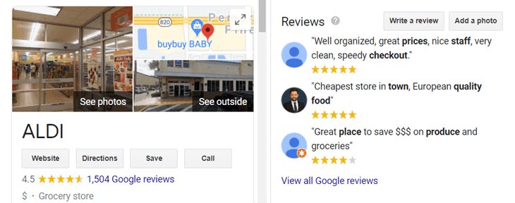 Google's Knowledge Graph card with reviews for Aldi