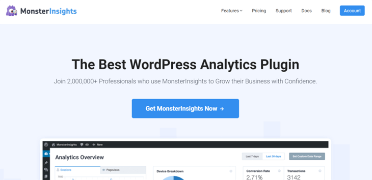 The best WordPress Google Analytics plugin on the market, MonsterInsights