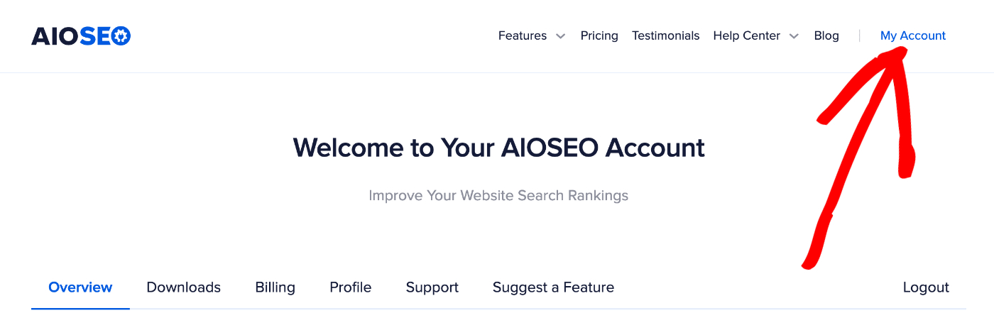 My Account link in the top right corner of aioseo.com