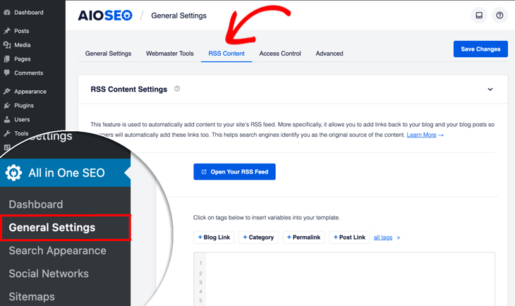 How to customize the RSS feed in WordPress - RSS content setting in All in One SEO