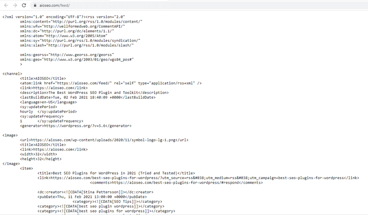 RSS XML text file of All in One SEO's feed