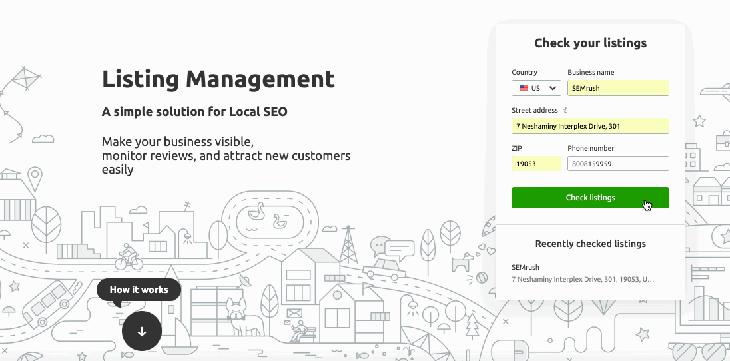 Semrush's listing management tool