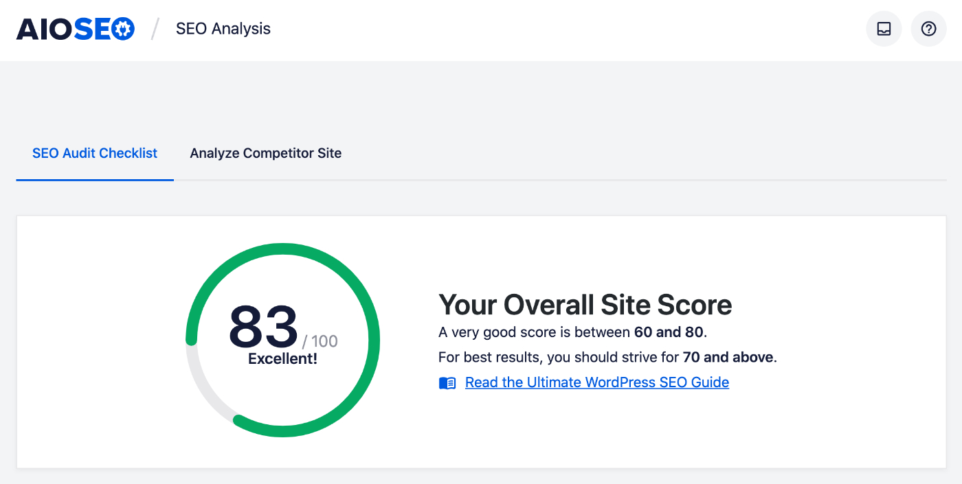 SEO Site Score on the SEO Analysis screen