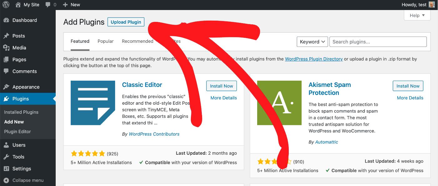 Upload Plugin button in WordPress