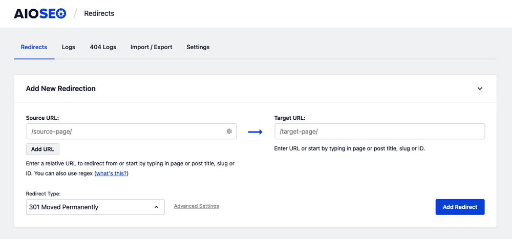 Adding new redirection in All in One SEO