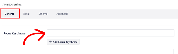 Adding your focus keyphrase in All in One SEO
