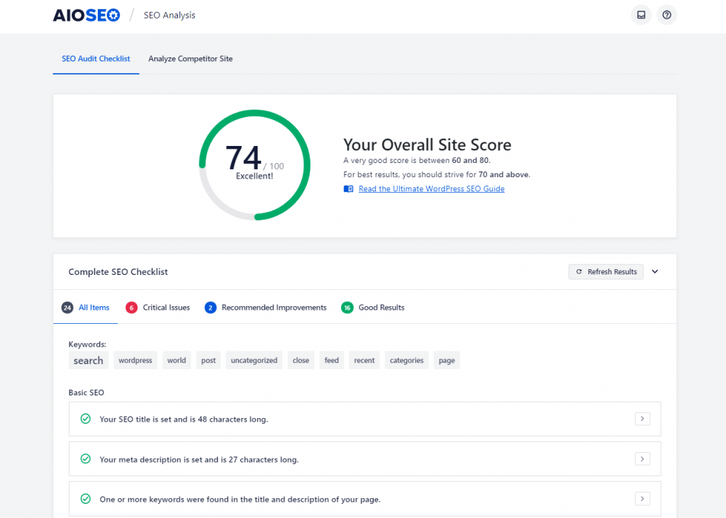 Checking your overall site score in All in One SEO