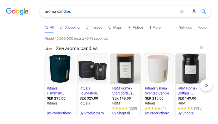 Example of product rich snippets on Google for aroma candles