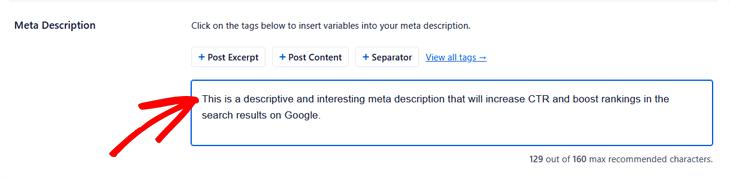Entering the meta description in All in One SEO