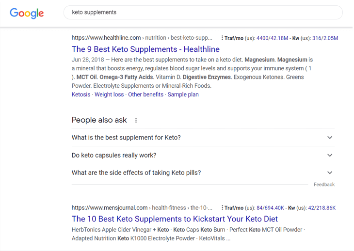 Example of a Google search to check a keyword's search intent